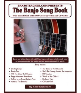 The Banjo Song Book  -  By Ross Nickerson  Spiral Bound Book/CD/DVD