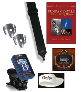 Beginner Banjo Kit - Includes Book/DVD/CD, Strap, Picks, Tuner, Extra Strings, Banjo Lessons Online