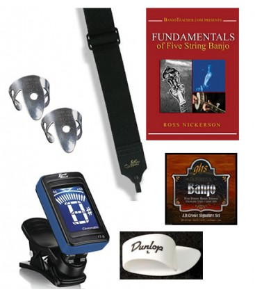 Beginner Banjo Package Deal - Instructional DVD, tuner,picks,strings,strap and membership