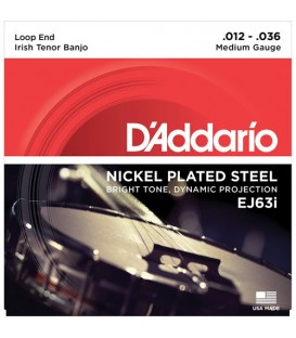 D'Addario J63i Nickel Plated Steel Irish Tenor Banjo Strings - 12-36
