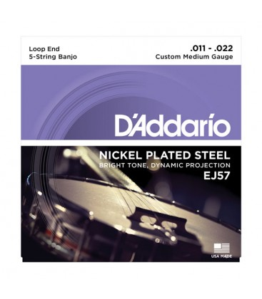 Strings - D'Addario EJ57 Daddario Nickel Plated Steel 5-String Loop End