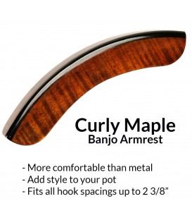 Wood Banjo Armrest - Curly Maple - More Comfortable - Looks Great